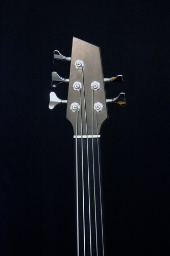 Five string electro-acoustic bass, Ebony headstock and Ebony fingerboard, bone nut.JPG