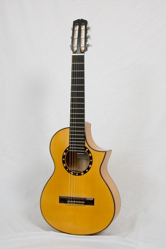 Cutaway Requinto guitar, Scale length 580 mm. Spruce and Cypress. Total lenght 882 mm. Rodolfo Cucculelli, guitar builder.jpg