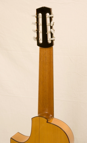 8-string classic guitar, cut-away, heel, Honduras Cedar guitar neck, schellac varnish.JPG